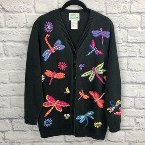The Quacker Factory Vtg Dragonfly Cardigan Sweater